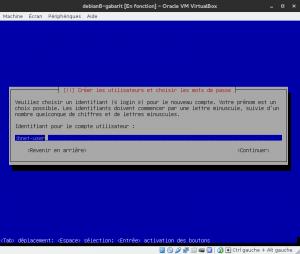 Debian 8 - Installation - Identifiant du compte utilisateur