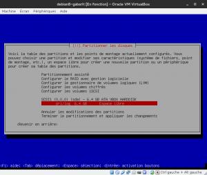 Debian 8 - Installation - Partitionnemer les disques - Selectionnez l'espace libre