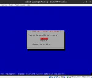 Debian 8 - Installation - Partitionnemer les disques - Type primaire