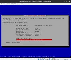 Debian 8 - Installation - Partitionnemer les disques - Configuration pour la partition /boot