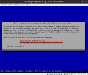 Debian 8 - Installation - Installation de GRUB - Périphérique