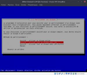 JBNet Debian 8 LVM - Méthodes de partitionnement