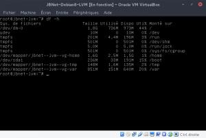 JBNet Debian8 LVM - Etendre un LV - Partitions présentes