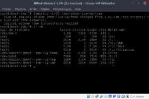 JBNet Debian8 LVM - Vérification après lvextend, taille non prise en compte par le système