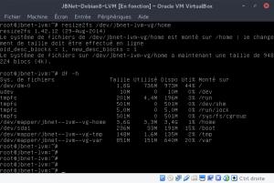 JBNet Debian8 LVM - resize2fs