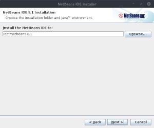 NetBeans IDE Installer - Répertoire d'installation